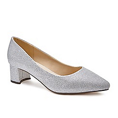 Pink by Paradox London - Silver Glitter 'Lucile' low heel wide fit court shoes