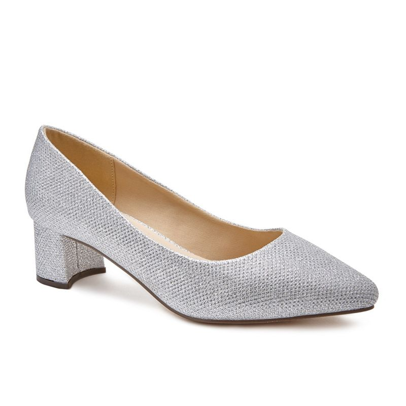 Pink by Paradox London - Silver Glitter Lucile Low Heel Wide Fit Court Shoes