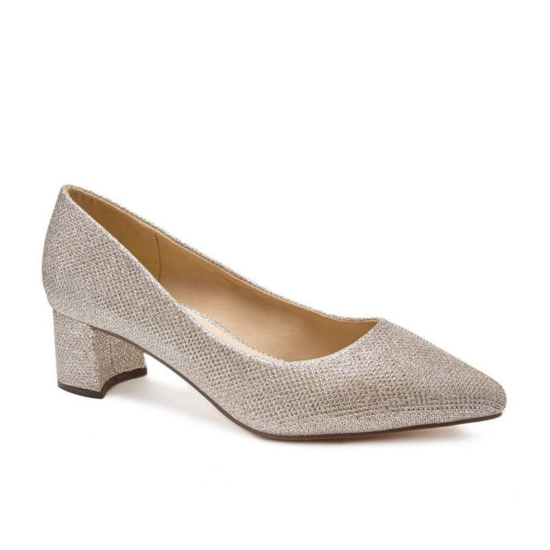 Pink by Paradox London - Gold Glitter Lucile Low Heel Wide F