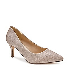 Pink by Paradox London - Gold Glitter 'Lavine' high heel wide 'E' fit court shoes