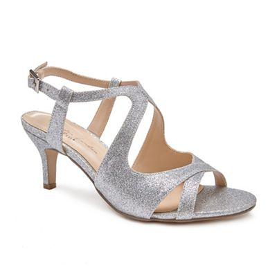 Pink by Paradox London - Silver 'Sara' Mid heel stiletto heel ankle strap sandals