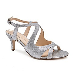 Pink by Paradox London - Silver 'Sara' Mid heel stiletto heel ankle strap sandals