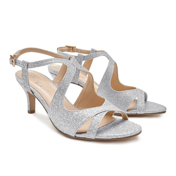 Paradox heel strap sandals heel Mid 'Sara' London Pink ankle stiletto by Silver 14w5q