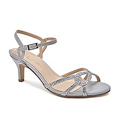Pink by Paradox London - Silver Glitter 'summer' mid heel ankle strap sandals