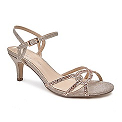 Pink by Paradox London - Gold Glitter 'summer' mid heel ankle strap sandals