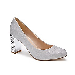 Pink by Paradox London - Silver Glitter 'Codee' high heel block heel court shoes