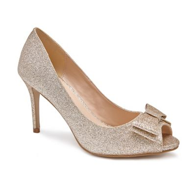Pink by Paradox London - Gold stiletto Glitter 'Piper' high heel stiletto Gold heel peep toe shoes db859f