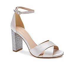 Pink by Paradox London - Silver Satin 'Simmy' high heel block heel ankle strap sandals