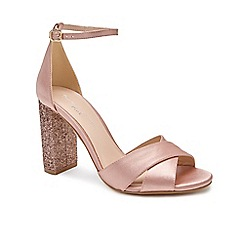 Pink by Paradox London - Pink Satin 'Simmy' high heel block heel ankle strap sandals