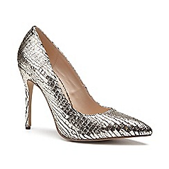 Pink by Paradox London - Gold Metallic snake print 'Cairo' high heel court shoes