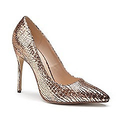 Pink by Paradox London - Pink Metallic snake print 'Cairo' high heel court shoes