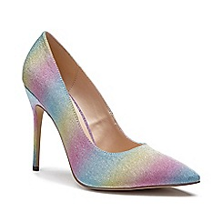Pink by Paradox London - multicoloured Glitter 'Cosmic' high heel court shoes