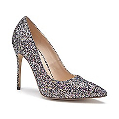 Pink by Paradox London - Black Glitter 'Cosmic' high heel court shoes