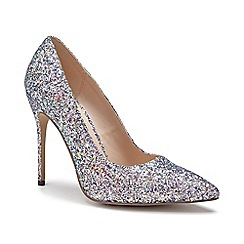 Pink by Paradox London - Silver Glitter 'Cosmic' high heel court shoes