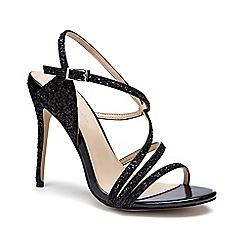 Pink by Paradox London - Black Glitter 'Saffie' high heel sandals