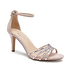 Pink by Paradox London - Cream Micro suede 'Santra' mid heel sandals