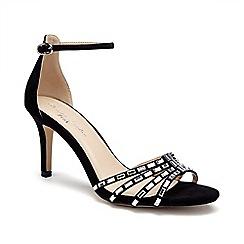 Pink by Paradox London - Black Micro suede 'Santra' mid heel sandals