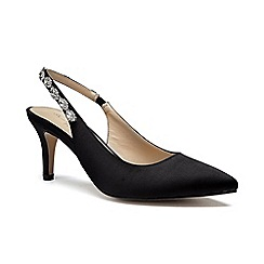 Pink by Paradox London - Black Satin 'Clementine' mid heel stiletto slingbacks
