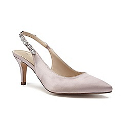 Pink by Paradox London - Gold Satin 'Clementine' mid heel stiletto slingbacks