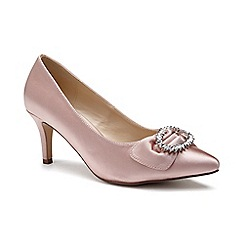 Pink by Paradox London - Pink Glitter 'Lena' mid heel wide fit court shoes
