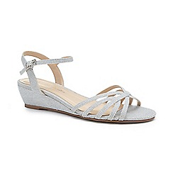 Pink by Paradox London - Silver Glitter 'Winslow' mid wedge heel sandals