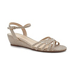 Pink by Paradox London - Gold Glitter 'Winslow' mid wedge heel sandals