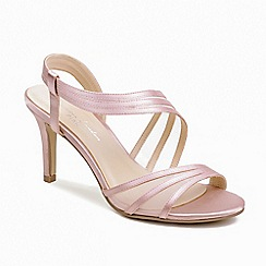 Pink by Paradox London - Pink glitter and mesh 'Marina' mid heel stiletto sandals