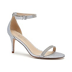 Pink by Paradox London - Silver Shimmer 'Star' mid heel stiletto sandals