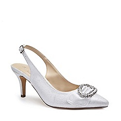 Pink by Paradox London - Silver Shimmer 'Cyra' mid heel stiletto slingbacks