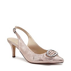 Pink by Paradox London - Cream Shimmer 'Cyra' mid heel stiletto slingbacks