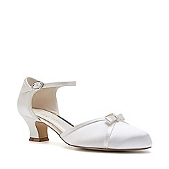 Pink by Paradox London - Ivory satin 'Annabelle' mid block heel court shoes