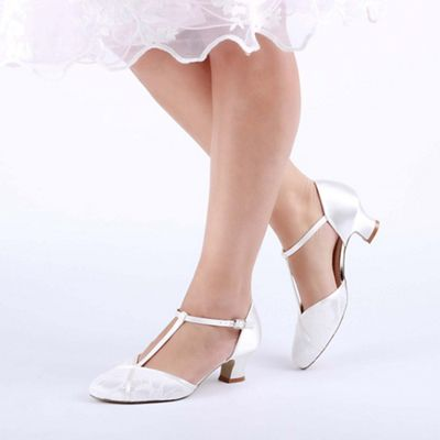 48caa07f53c Pink by Paradox London Ivory satin and lace  Artisan  mid heel t-bar shoes
