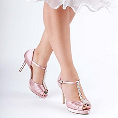 Pink by Paradox London - Pink satin 'Cindys' high heel platform peep toe shoes
