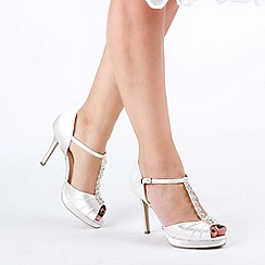 Pink by Paradox London - Ivory satin 'Cindys' high heel platform peep toe shoes