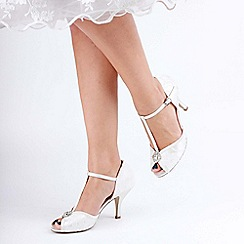 Pink by Paradox London - Ivory satin and lace 'Charlote' high heel stiletto t-bar sandals