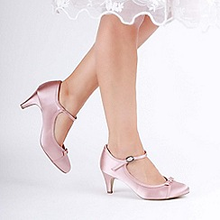 Pink by Paradox London - Pink satin 'April' mid heel mary janes