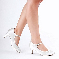 Pink by Paradox London - Ivory satin 'April' mid heel mary janes