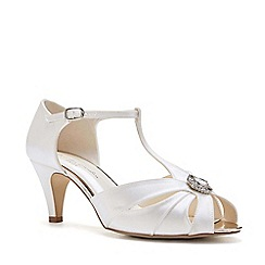 Pink by Paradox London - Ivory satin 'Bonnie' mid heel wide fit t-bar sandals