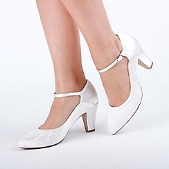 Pink by Paradox London - Ivory satin and lace 'Ariana' mid block heel mary janes