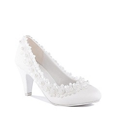 Pink by Paradox London - White 'Ursula' High Heel Block Heel Court Shoes