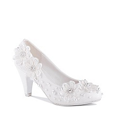 Pink by Paradox London - White 'Uma' High Heel Block Heel Court Shoes