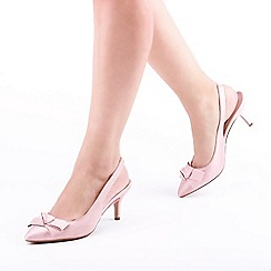 Pink by Paradox London - Pink Shimmer 'Kaila' Mid Heel Sling Back Court Shoes