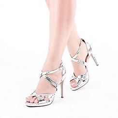 Pink by Paradox London - Silver 'Levi' High Heel Stiletto Heel Platform Sandals