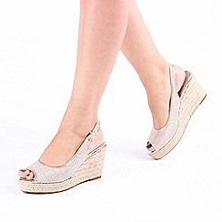 5ae9faacb3 Pink by Paradox London - Gold Glitter 'Tania' Wedge Heel Espadrille Sandals
