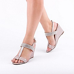 Pink by Paradox London - Gold 'Jacey' Mid Heel T-Bar Wedge Sandals