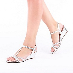 Pink by Paradox London - Silver Shimmer 'Tessa' Mid Heel Wedge T-Bar Sandals