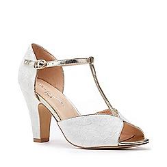 Pink by Paradox London - Ivory Satin 'Quentin' High Heel Block Heel T-Bar Sandals