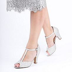 Pink by Paradox London - Silver Glitter 'Quincy' High Heel Block Heel T-Bar Sandals
