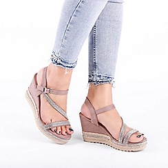Pink by Paradox London - Cream 'Yoki' High Heel Wedge Ankle Strap Sandals