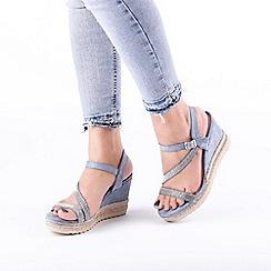 Pink by Paradox London - Blue 'Yoki' High Heel Wedge Ankle Strap Sandals